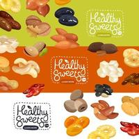 Nuts Banners Set Vector Illustration