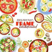 Egg Dishes Frame Background Vector Illustration