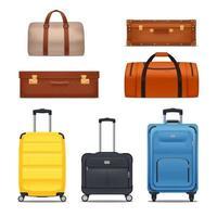 Baggage Colored Set Vector Illustration