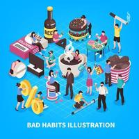 Harmful Habits Isometric Illustration Vector Illustration