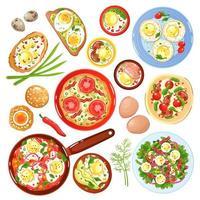 Egg Dishes Set Vector Illustration