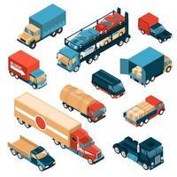 Delivery Trucks Isometric Set Vector Illustration