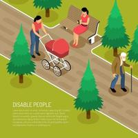 Disabled Isometric Illustration Vector Illustration