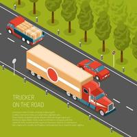 Delivery Truck Isometric Illustration Vector Illustration