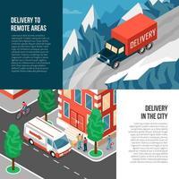 Delivering Trucks Banners Set Vector Illustration