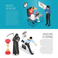 Deadline Banners Set Vector Illustration