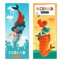 Mermaids Life Banners Vector Illustration