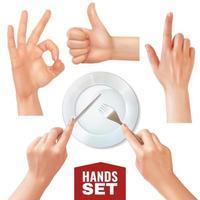 Realistic Hands Set Vector Illustration