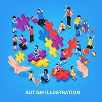 Autism Isometric Illustration Vector Illustration