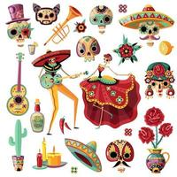 Mexican Day Of Dead Set Vector Illustration