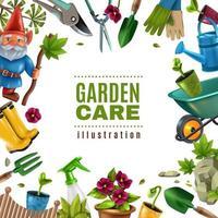 Garden Maintenance Tools Frame Vector Illustration