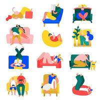 People Resting at Home Set Vector Illustration