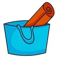Blue bag summer beach bag and mat Cartoon style vector illustration