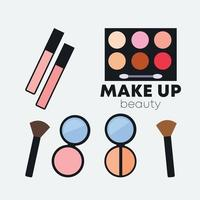 Isolated beauty make up tool icon set flat vector