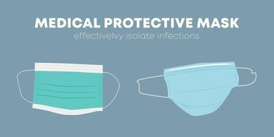 Medical surgical protective doctor face mask effectivelvy isolate infections illustration free flat vector