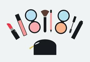 Make Up Kit Collection Flat Vector