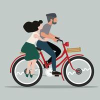 People Couple in love riding bicycle vector