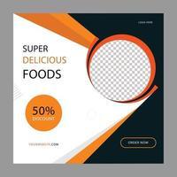 Social media post banner design template for restaurant food business vector