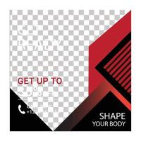 Social media post banner design template for gym business vector