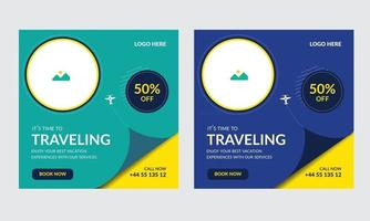 Social media post design template for travel business sale banner layout vector