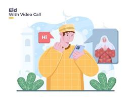Translation is celebrating eid mubarak or eid al fitr with online video call. Person greeting happy eid on video call vector