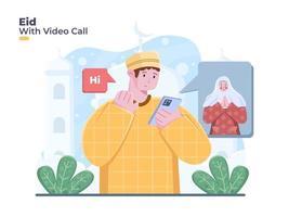 la traducción está celebrando eid mubarak o eid al fitr con videollamadas en línea. persona saludando feliz eid en videollamada vector