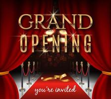 Grand opening invitation card with red theater curtains and velvet carpet vector