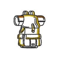 Flat style colorful vector illustration of touristic rucksack with rolled map for adventure and active tourism concept designs