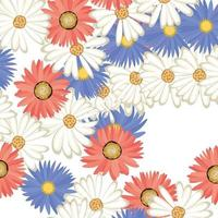 colorful floral flowers seamless pattern vector