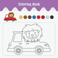 Coloring book of cute animal theme worksheet for education vector illustration - lion in car