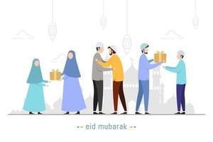 Muslims people are having fun celebrating Eid alFitr vector