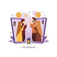 Eid Mubarak greetings and celebrate Muslims people communicates through video call vector