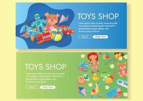 pancartas de la tienda de juguetes en el diseño de fondo verde y azul para compras en línea vector