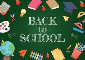 back to school and kid items on blackboard vector