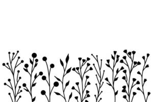 Black silhouettes of grass flowers and herbs minimalistic simple floral elements vector