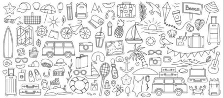 A large set with things for traveling to the mountains and the sea Set of travel things on vacation vector