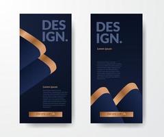 Social media stories template elegant luxury dark blue background layout template vector