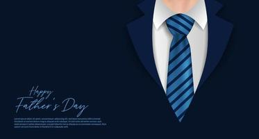 Happy fathers day poster banner template with formal coat and tie businessman clothes postcard vector