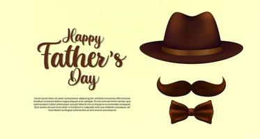 Happy fathers day poster banner template with hat mustache and tie with elegant style postcard vector