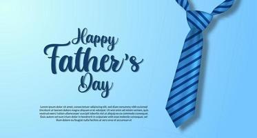 Plantilla de banner de cartel de feliz día del padre con postal de ropa de corbata azul presente vector