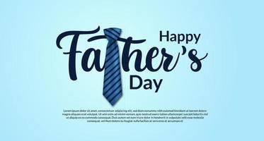 Plantilla de banner de cartel de feliz día del padre con tipografía con decoración de corbata realista con postal de color azul vector