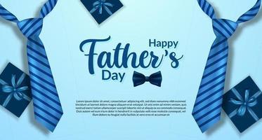 Plantilla de banner de cartel de feliz día del padre con color azul realista de corbata y postal de vista superior de caja actual vector