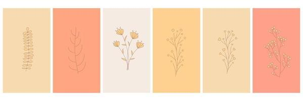 Abstract elements minimalistic simple floral elements leaves and flowers vector