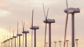 Wind Energy Farm with Colorful Sunset Sky and All Turbines Spinning video