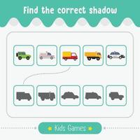 Find the correct shadow kids game for educational preschool children vector
