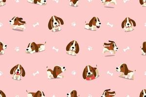 Vector cartoon character hound dog seamless pattern