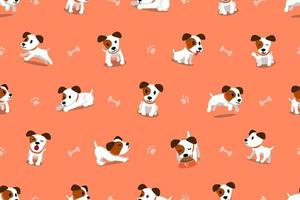 Vector cartoon character jack russell terrier dog seamless pattern