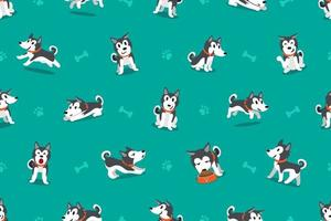 Vector cartoon character siberian husky dog seamless pattern