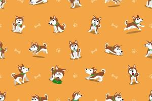 Vector cartoon siberian husky dog seamless pattern