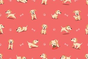 Vector cartoon character labrador dog seamless pattern